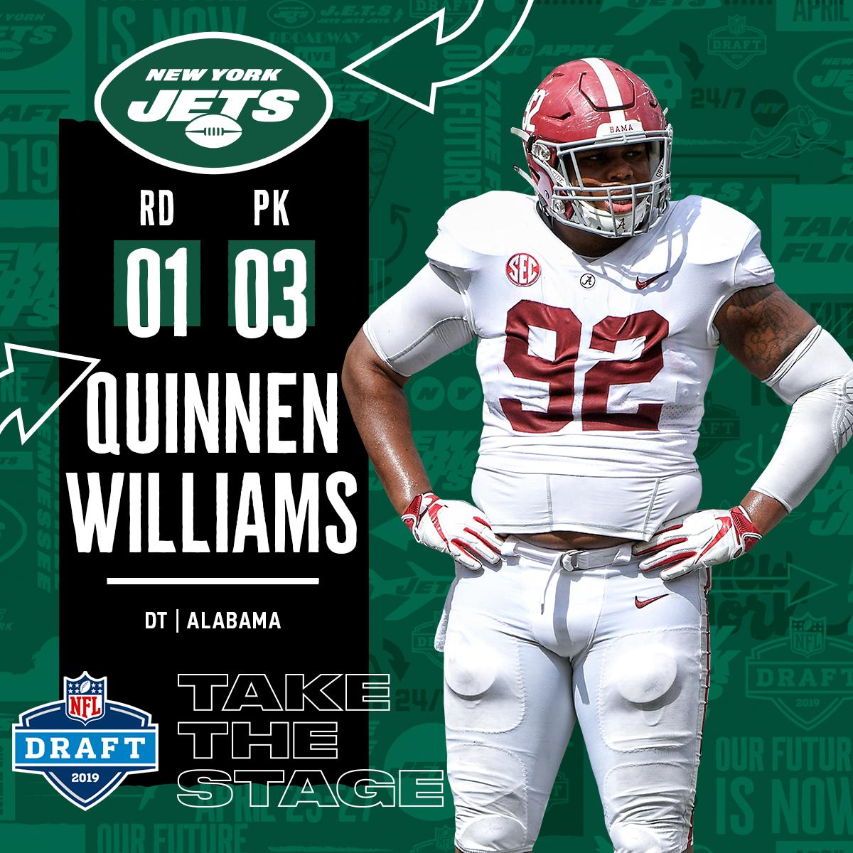 With the #3 overall pick in the 2019 @NFLDraft, the @nyjets select DT @QuinnenWilliams! #NFLDraft (by @Bose)