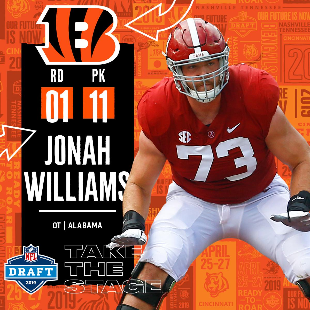 With the #11 overall pick in the 2019 @NFLDraft, the @Bengals select OT Jonah Williams! #NFLDraft (by @Bose)