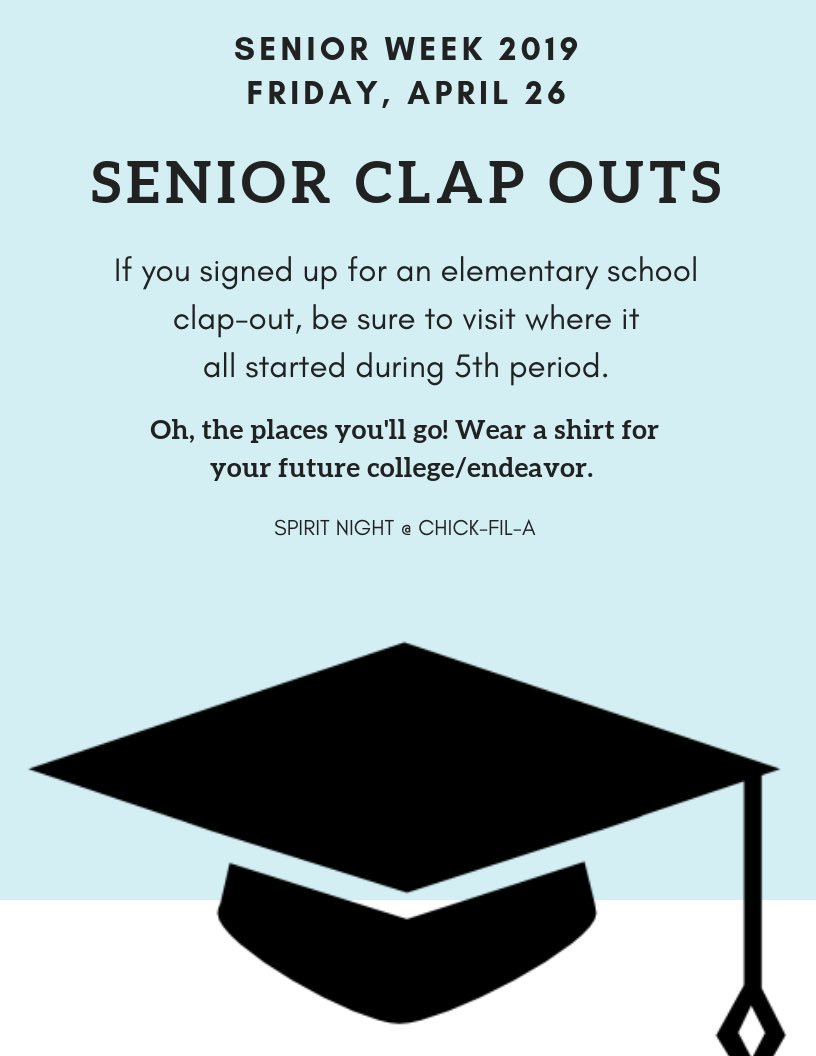 We've reached the final day of senior week 2019!! Here's what's planned for the last day🎓🎉
