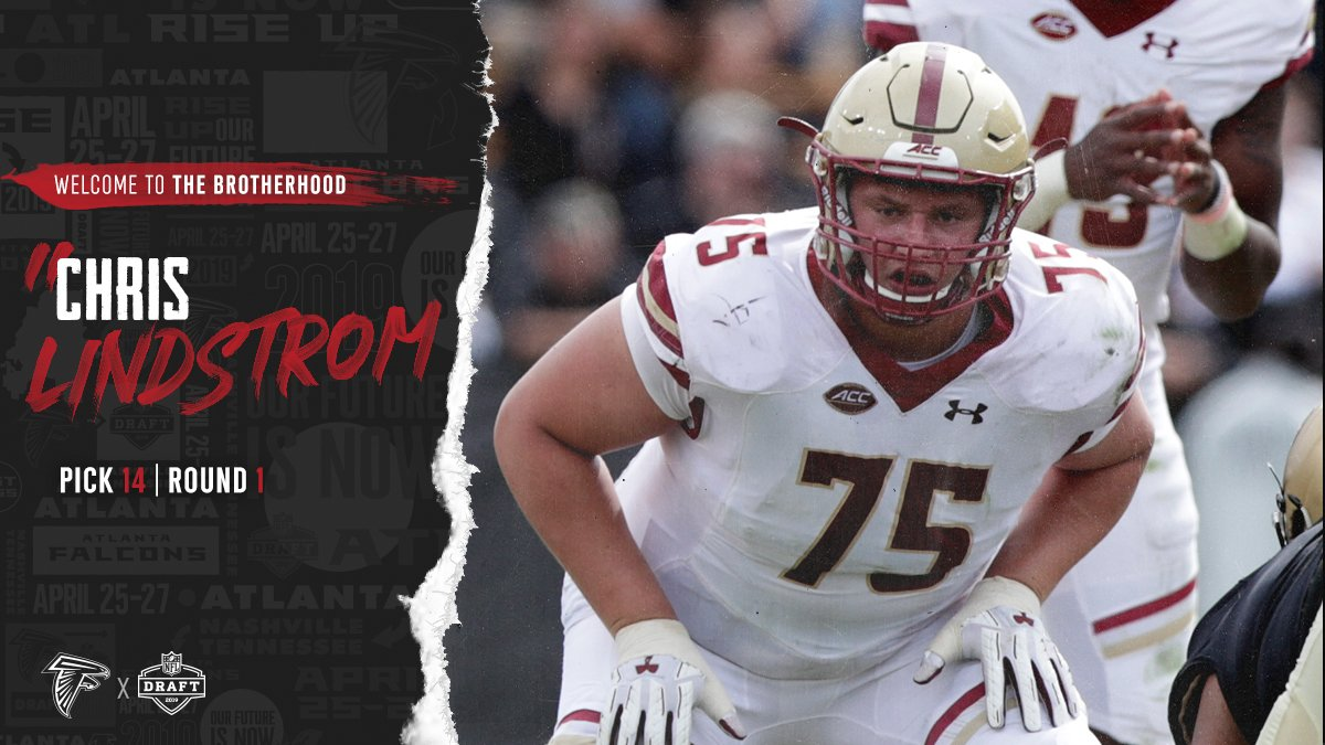 With the 14th pick of the #NFLDraft, we have selected G Chris Lindstrom from @BCFootball. Welcome to the Brotherhood, @Big_Fish75!