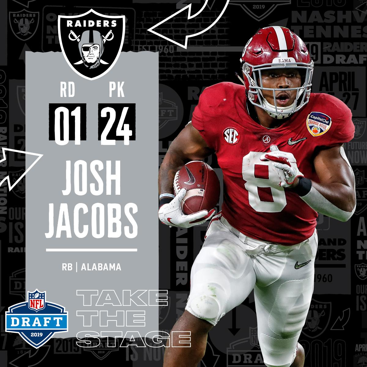 With the #24 overall pick in the 2019 @NFLDraft, the @Raiders select RB Josh Jacobs! #NFLDraft (by @Bose)