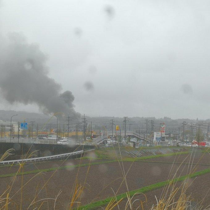 仙台市青葉区愛子で火事の現場画像