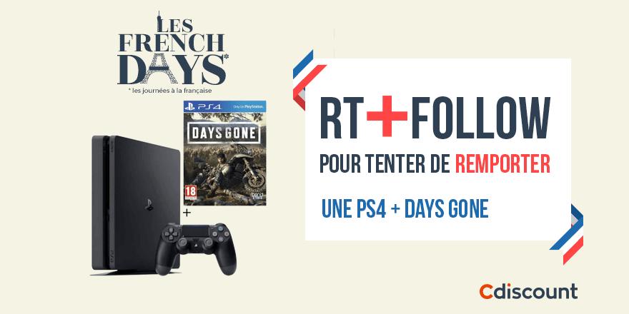 🎁 #Concours #FrenchDays  👌 PS4 + Days Gone à remporter pour les #FrenchDaysCdiscount > http://bit.ly/2vnPVTQ  🔸 Pour tenter de le gagner : RT + Follow @Cdiscount  ☑️ TAS 02/05