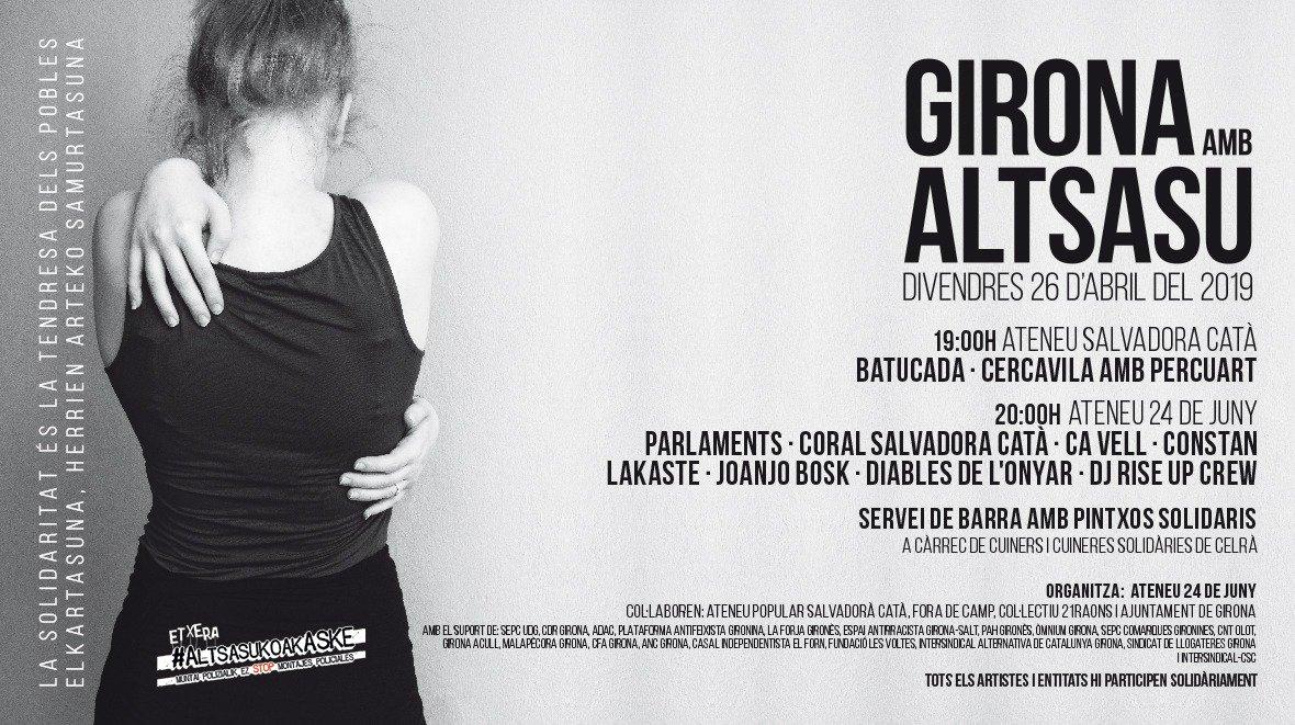 📣 Avui, jornades a Girona amb #Altsasu organitzades per @Ateneu24dejuny i @SalvadoraCata.  🕑 19.00h 📅 26 d'abril 📌 Ateneu Salvadora Catà  La solidaritat és la tendresa dels pobles.✊ #AltsasukoakASKE