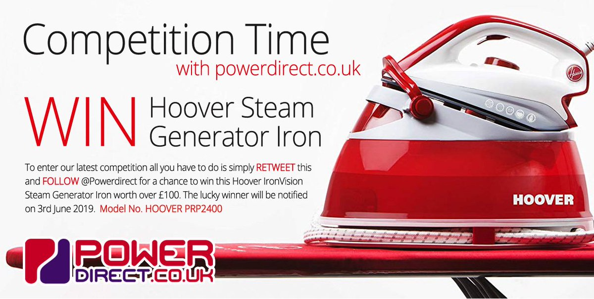 #Free to Enter @PowerDirectUK #Competition #Giveaway.. Simply #RT and #Follow for a chance to #Win a Hoover Steam Generator Iron.. Drawn 3rd June 2019.. #FreebieFriday #FridayFeeling #FridayMotivation