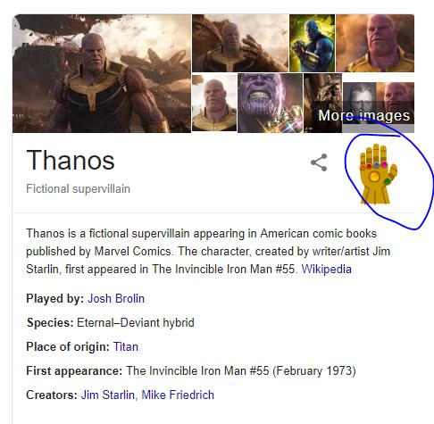 google thanos and press his hand