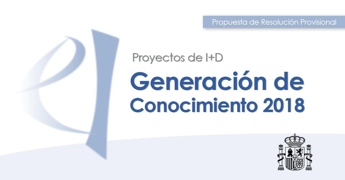 📌 Se ha publicado la propuesta de resolución provisional de la convocatoria 2018 de los Proyectos de I+D de Generación de Conocimiento.  1.131 proyectos han sido seleccionados de un total de 2.084 presentados.  La inversión asciende a 106,9 millones.  ➡️ http://bit.ly/2XMMUbx