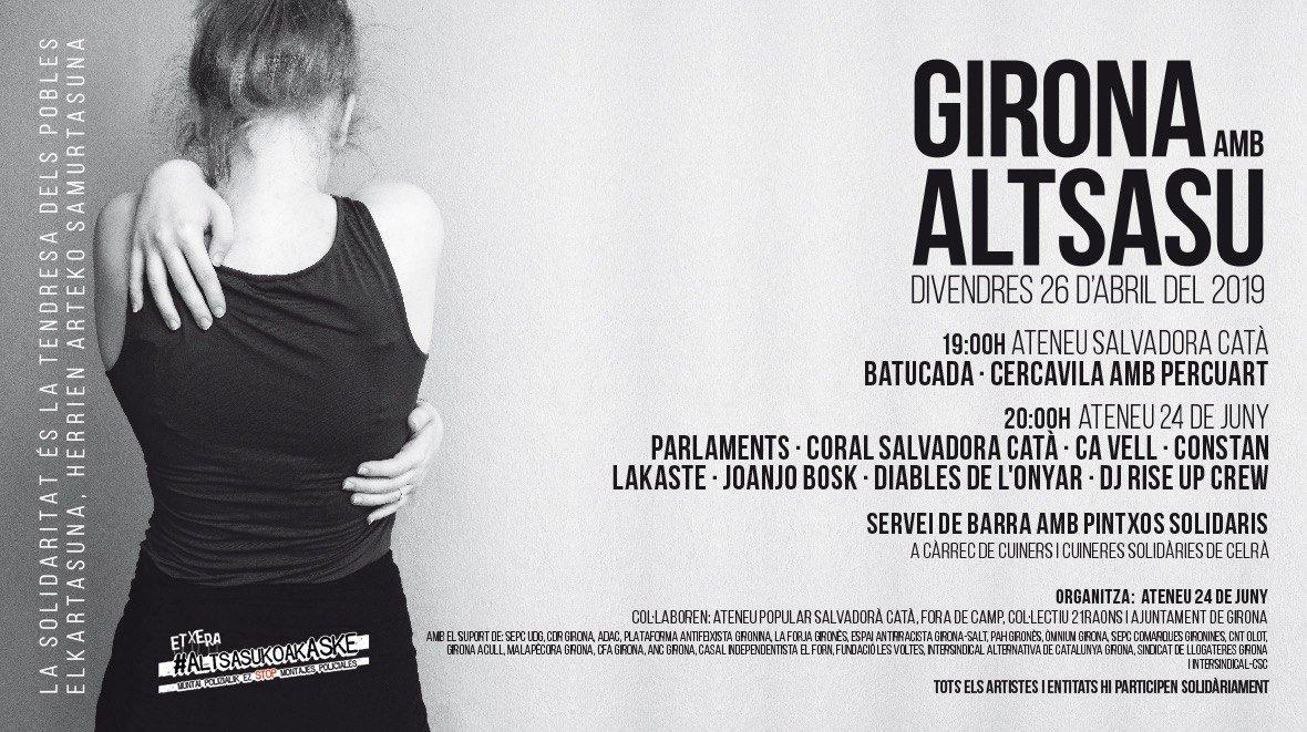 📌 Avui divendres, jornada #Girona amb #Altsasu a l'Ateneu @SalvadoraCata i @Ateneu24dejuny. La solidaritat és la tendresa dels pobles. No hi falteu! ✊ #AltsasukoakASKE