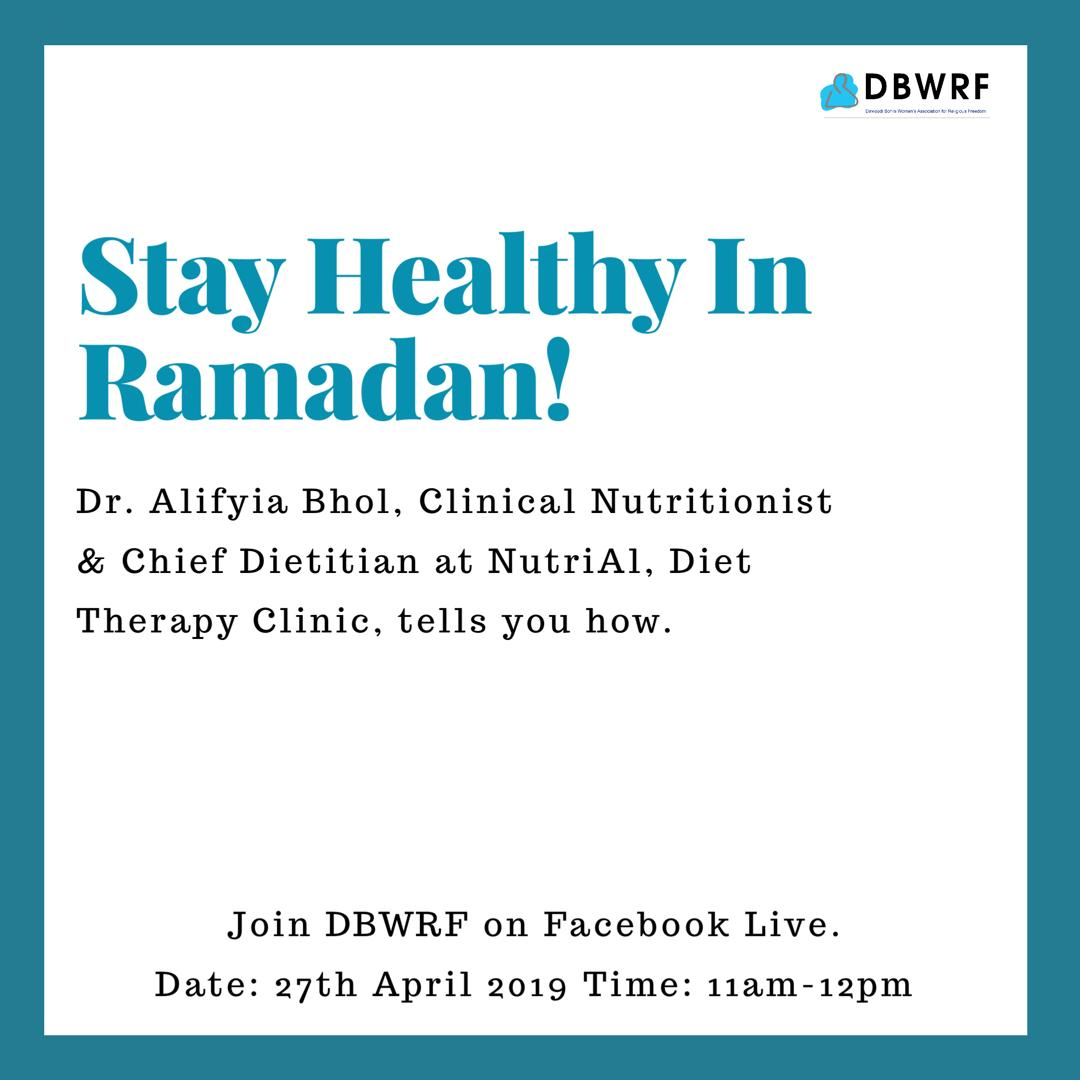 Stay healthy in #Ramadan! Join us tomorrow on our #Facebook