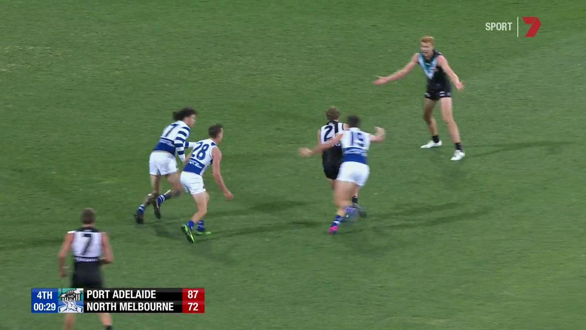 Sam Wright couldn't believe the umpire's decision at the end of the game.  #AFLPowerNorth