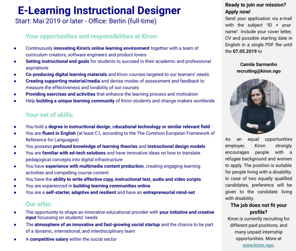 Renata Suter On Twitter Would You Like To Join Our Amazing Team As An Instructional Designer And Design Online Learning Opportunities To Help Our Students Achieve Their Academic And Professional Goals Kironeducation