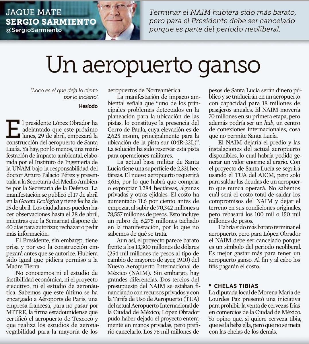 Buenísimo texto de @SergioSarmiento en @Reforma poniendo las cosas claras entre el NAIM cancelado y la ocurrencia de Santa Lucía. No se lo pierdan.