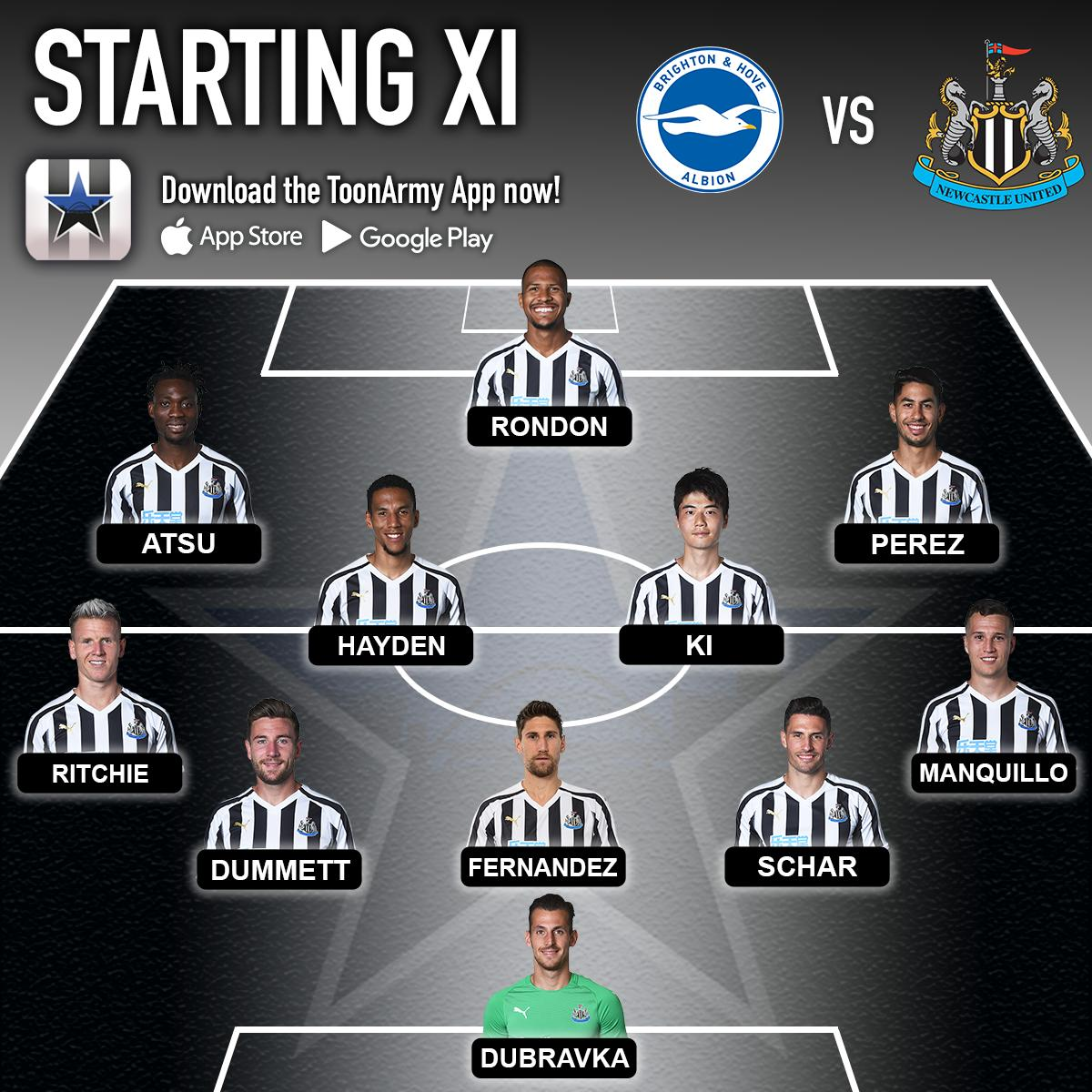 MY STARTING XI vs BRIGHTON 👇  Would you start Atsu for the injured Almiron? ⚫⚪ #NUFC #ToonArmy  🔁 for NO ❤ for YES