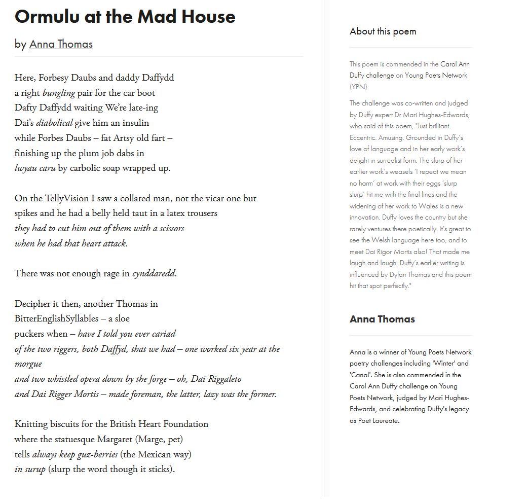 Young Poets Network On Twitter Ormulu At The Mad House