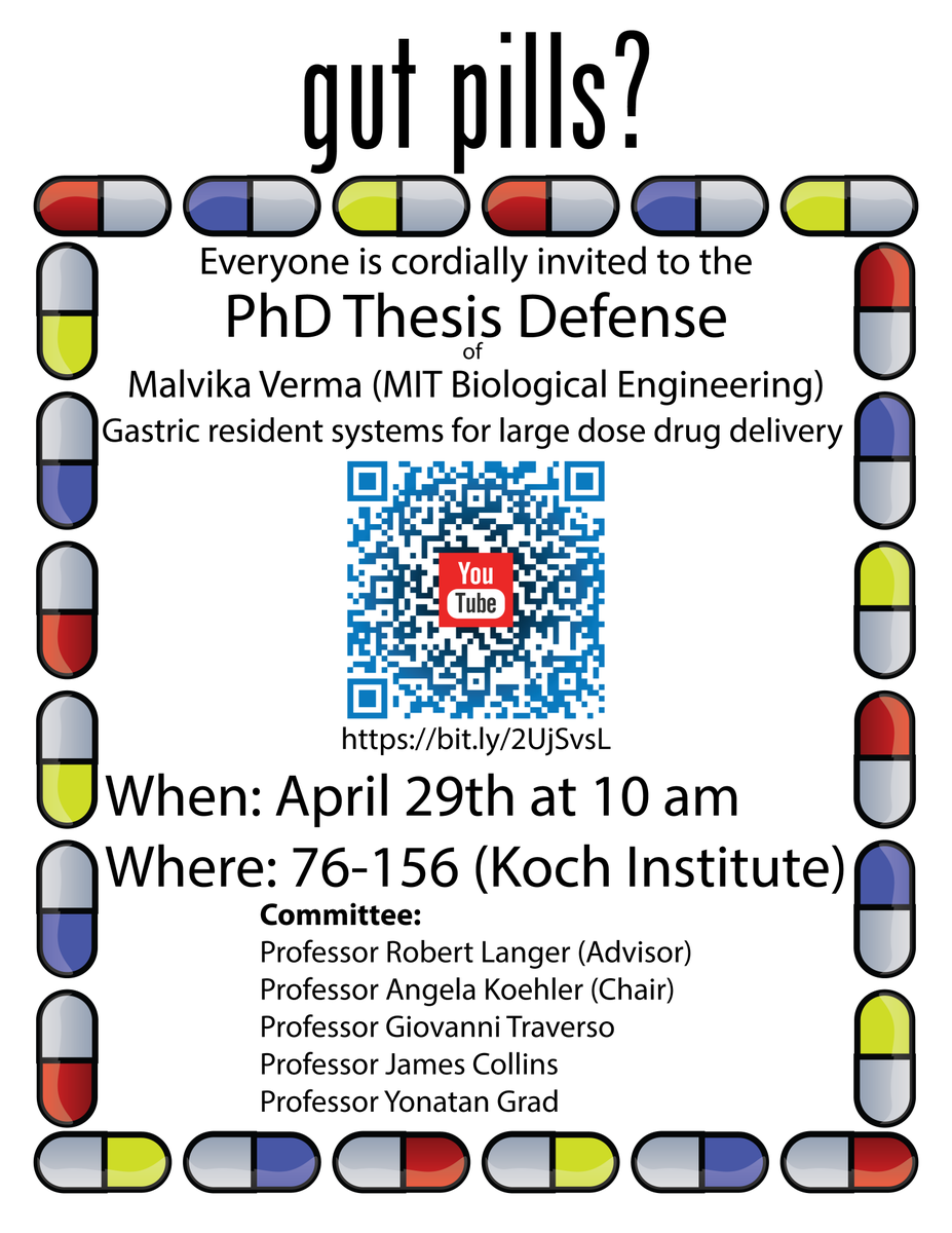 T-3 days till my PhD defense at MIT! It's on Monday, April 29th at 10 AM EST in 76-156 (Koch Institute). Feel free to join or watch the livestream here:  https:// youtu.be/gHK9gWRZLdw     @kochinstitute #LangerLab <br>http://pic.twitter.com/w9zAmvBPdG