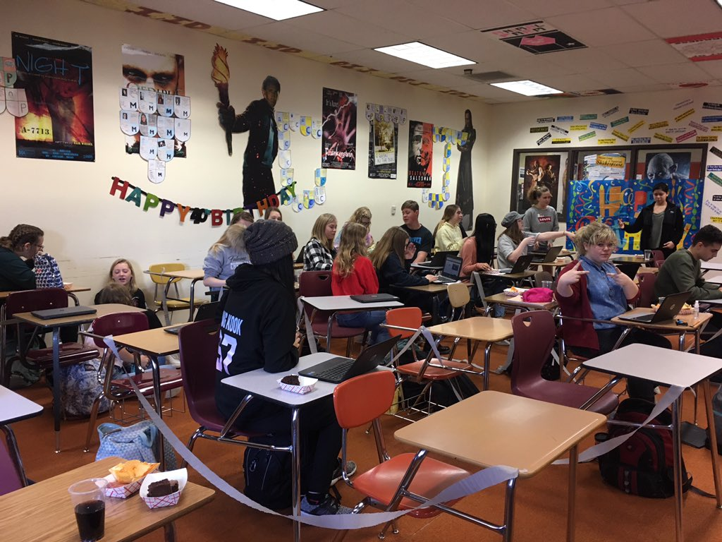 Honors English celebrating Shakespeare's BDay (a couple days late but waited for Friday)!