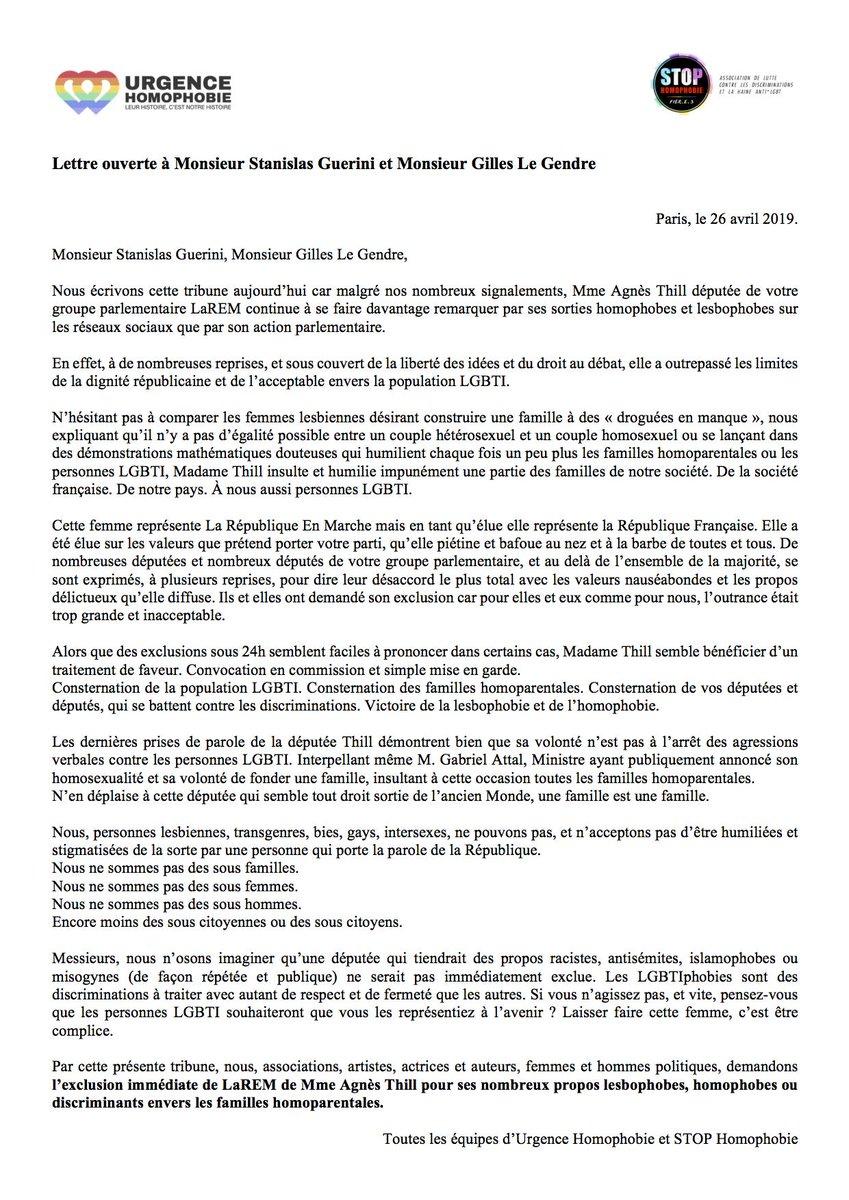 Une lettre ouverte pour l'exclusion d'une députée LREM pour homophobie dans infos D5GcN2pXkAASlIV
