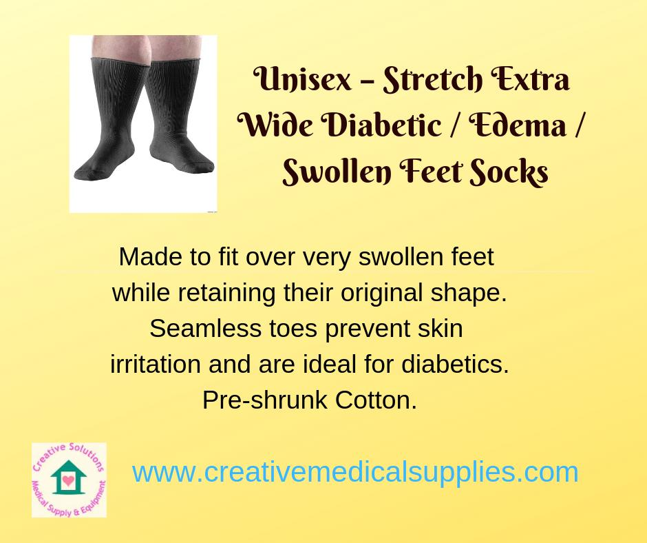 f49665647d Unisex - Stretch Extra Wide Diabetic / Edema / Swollen Feet Socks - Made to  fit over very swollen feet while retaining their original shape.