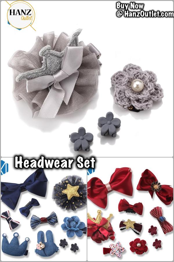 10Pcs//Set princess headwear set girls hair accessories ribbon bow hair clip
