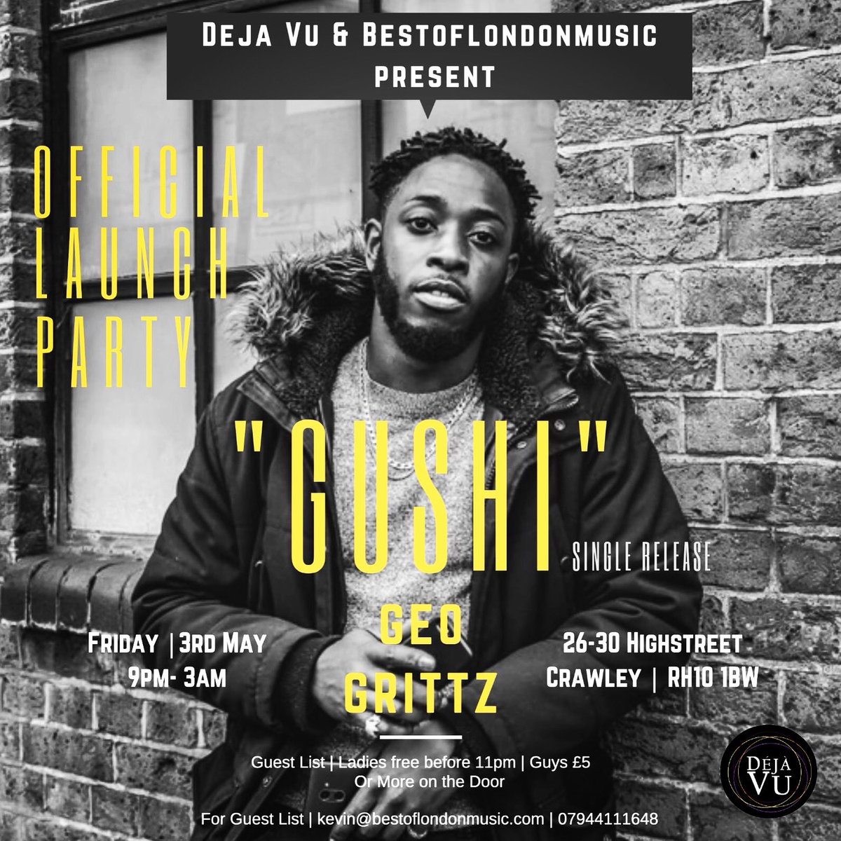 """Come join me at the """"GUSHI"""" launch pArty at DEJA VU CRAWLEY!!! FRIDAY 3rd May"""