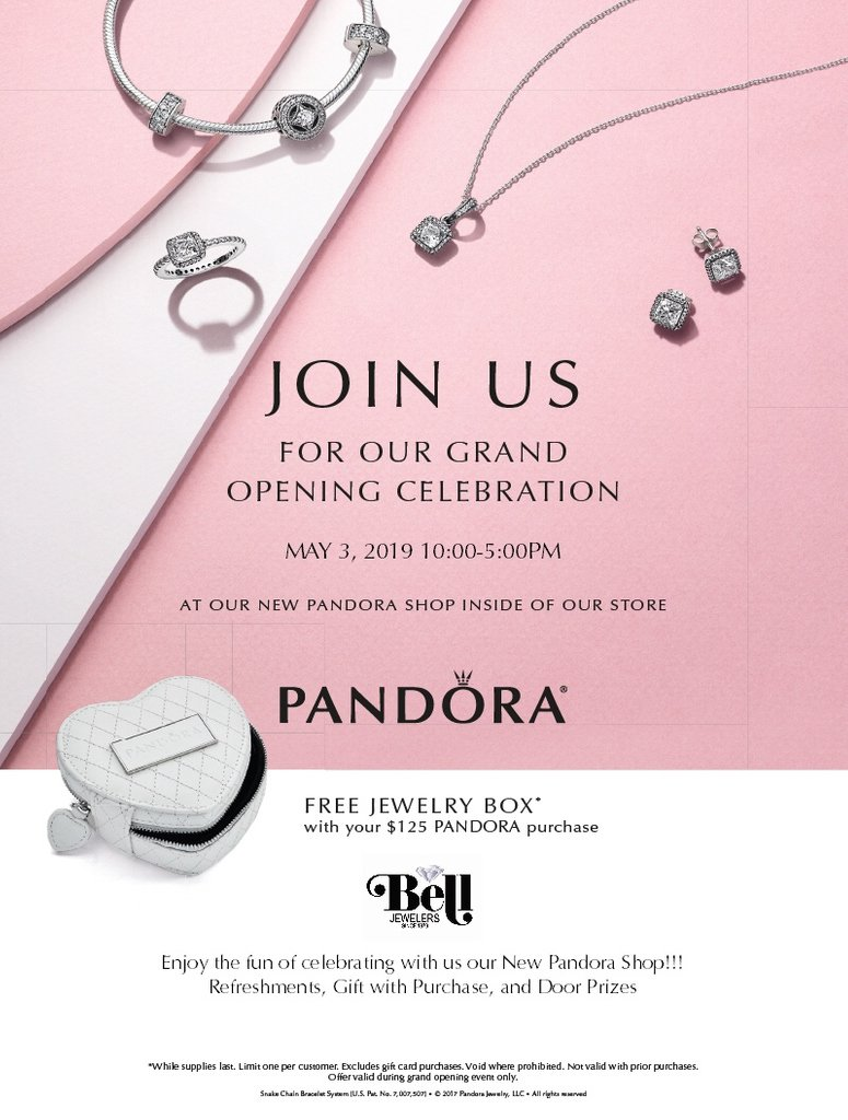 7feab38b5 ***PANDORA Re-Grand Opening!!*** @BellJewelers Mark your calendars for May  3rd! FREE jewelry box* with your $125 or more PANDORA purchase! Door prizes!