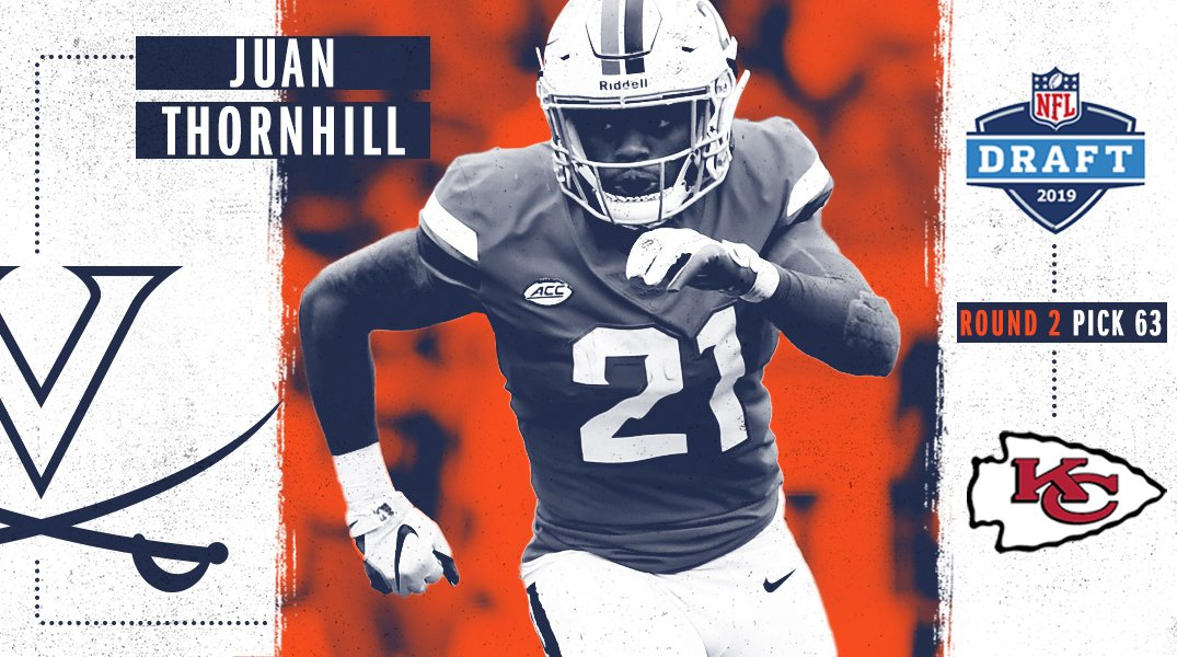 Heading to #ChiefsKingdom is @Juan_Thornhill ‼️ The @Chiefs have selected Juan In the 2nd round, 63rd pick overall, of the 2019 #NFLDraft. Congrats Juan 👏 #GoHoos