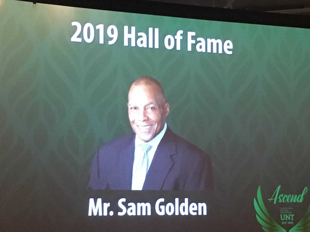 """@UNTAdvancement @UNTAlumniAssoc Congrats to Sam Golden as he is inducted into the UNT G. Brint Ryan College of Business Hall of Fame! His message to students: """"Pay it forward!"""" #UNTRCOB #UNTproud #GMG"""
