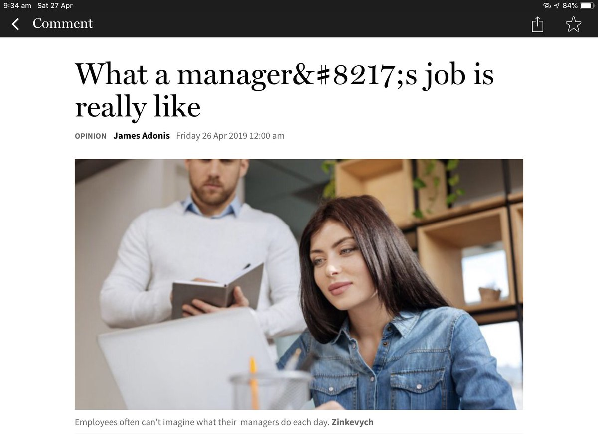 Don't know what's worse: the typo in the headline or the stereotypical (stock) photo with man as the boss; cheap and lazy @Ninecomau @theage #stereotypes #goodjournalismmatters