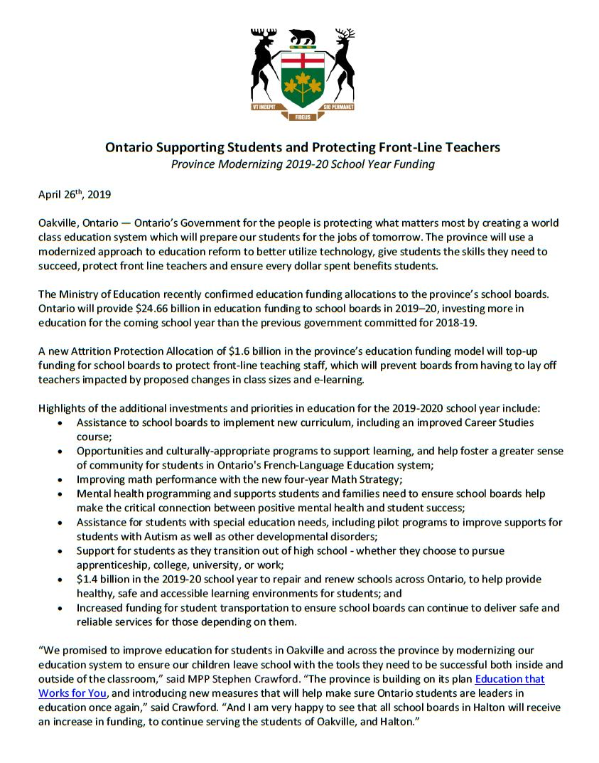 f0262b6ee39e I am very happy to see that all school boards in  Halton will receive an  increase in funding
