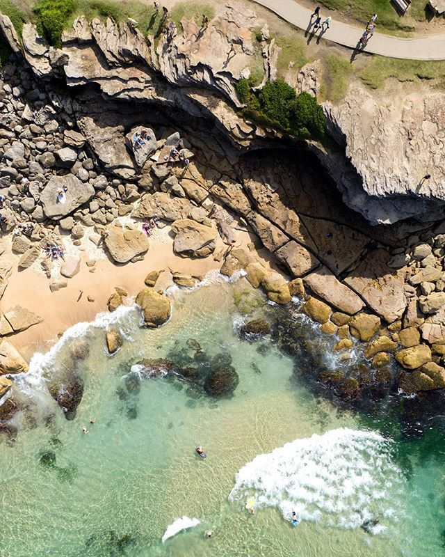 Popup beach is back! Every few years or so, sand slowly fills into the bay and creates a beach on top of the rocks.  Enjoy it before it gets washed away.  ⠀#trf024 #50shadesofbondi http://bit.ly/2DAFu3Ipic.twitter.com/sL9eduQw4Z
