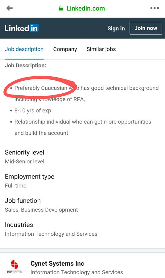 "A job posting on LinkedIn. Under job description, the first line reads, ""Preferably Caucasian who has good technical background"""