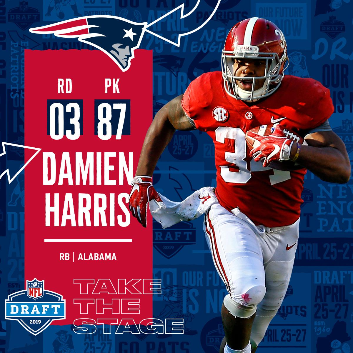 With the #87 overall pick in the 2019 @NFLDraft, the @Patriots select RB Damien Harris! #NFLDraft