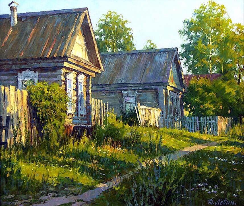 Картинка деревня летом, цветами