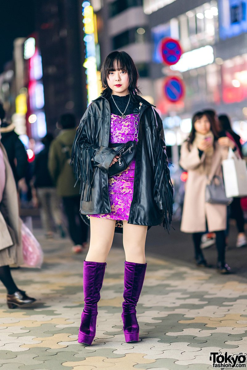 7de8cc1e591 16 year old japanese student yui on the street in harajuku wearing a fringe  leather jacket