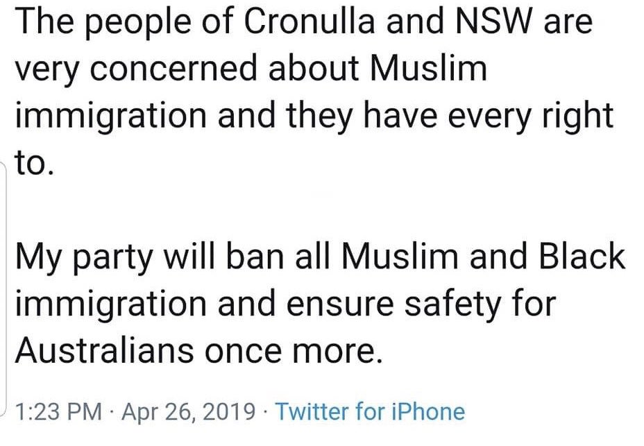 This is what an Australian Senator put on his twitter page.  It's remarkable how cocky a Racist can be in the today's society.