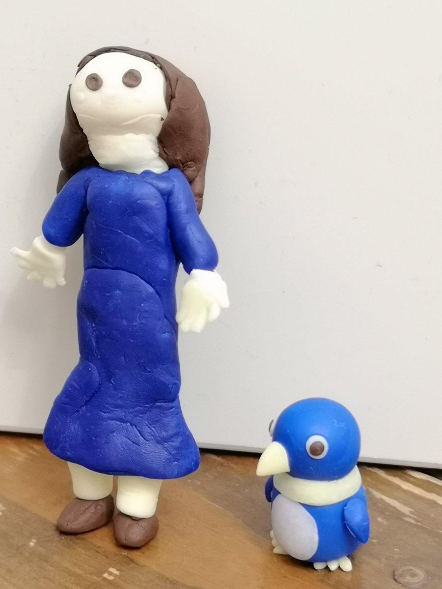 test ツイッターメディア - GW親子モデリング。お母さんとペンギン。 #樹脂粘土 #ダイソー https://t.co/BKweXQEKC9