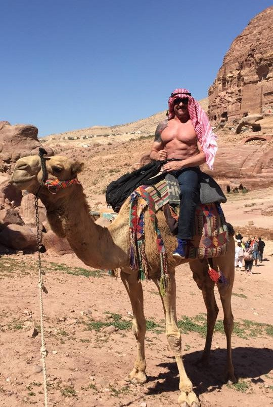 When was the last time you saw a roaring lion riding a camel in Petra? There you go! The voice of BRAVE COMBAT FEDERATION @TheLosKremer having a good time after the historical BRAVE 23 in Jordan. Isn't he the best? #BRAVECF23