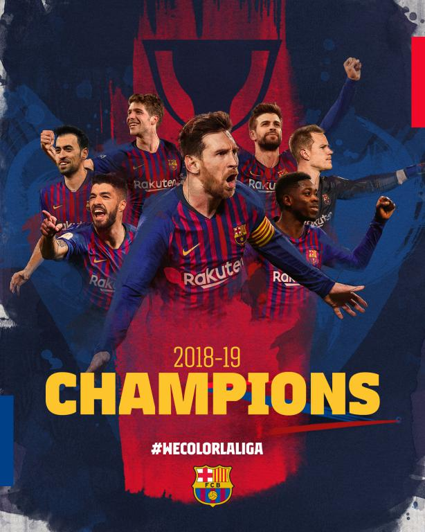🏆 @LaLiga CHAMPIONS 2018-2019! 8 leagues in 11 years. Making the extraordinary seem normal. 🖌🎨 #WeColorLaLiga 🔵🔴