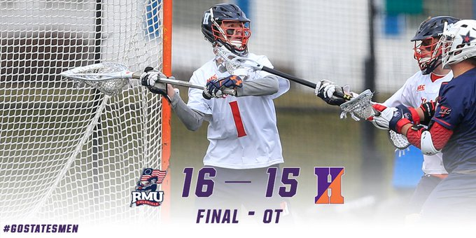 Hobart falls in overtime at Robert Morris to close regular season