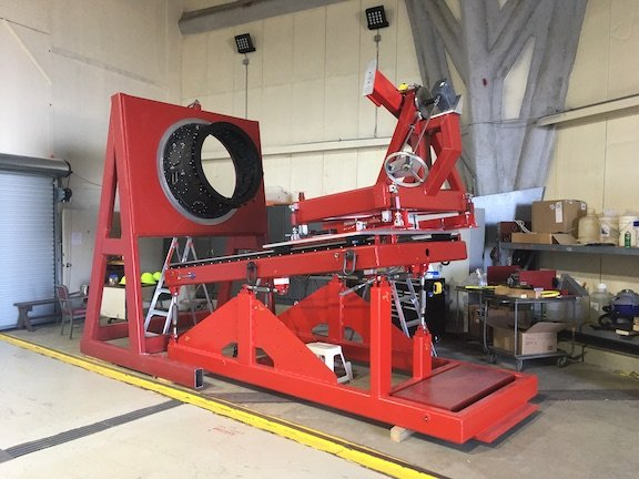 This cool contraption is for the installation of the @desisurvey focal plane system onto the optical corrector. The purpose of this impressive amount of steel is to install each of the super delicate Petals of 500 fiber positioners with extraordinary precision.