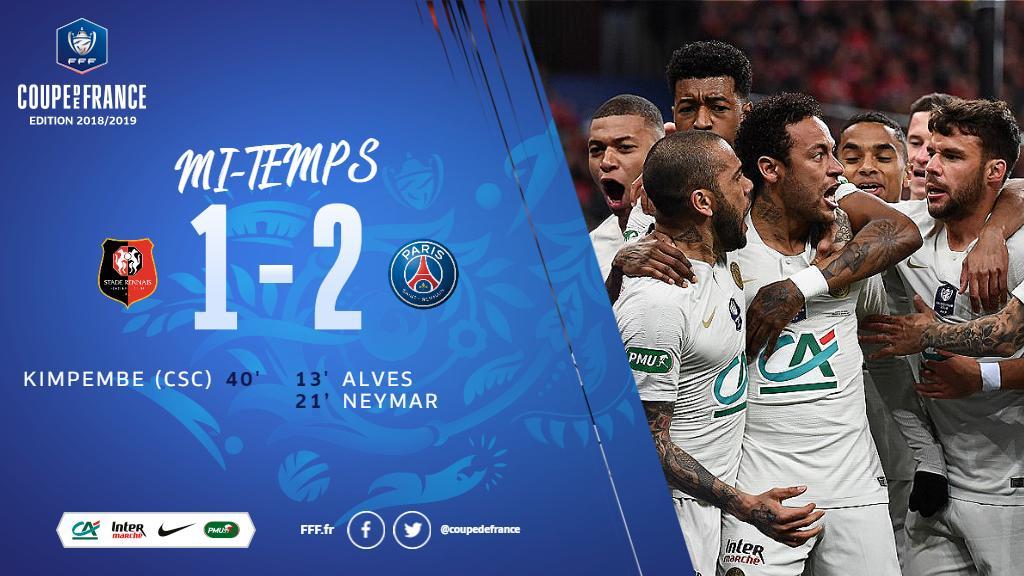 C'est la mi-temps ! Le Paris Saint-Germain est devant ! (1-2) #SRFCPSG #CDF
