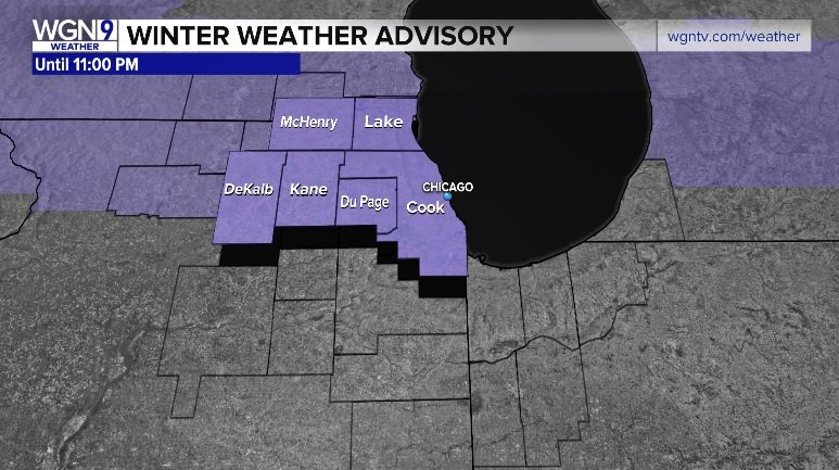 """UPDATE: Winter Storm WARNING Cancelled. Winter Weather Advisory continues until 11PM. Light to moderate, occasionally heavy, wet #snow could bring additional 1-3"""" accumulations. Wind gusts 30-35 mph. Slippery roads, reduced visibility possible. #Chicago #ilwx<br>http://pic.twitter.com/Vg9B6otRa6"""