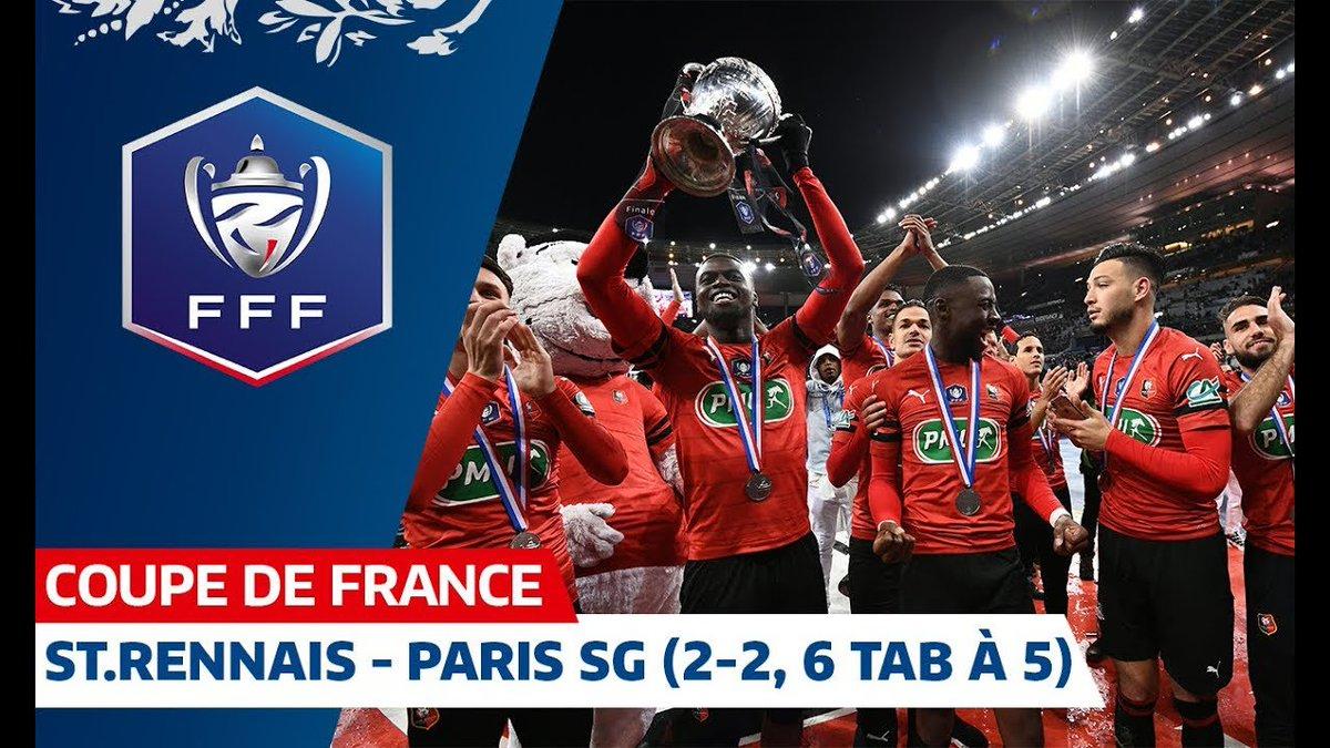 Les Rennais ont remporté la Finale de la Coupe de France aux tirs au but face aux Parisiens ! La 3ème de leur histoire 🙌🏆 @staderennais