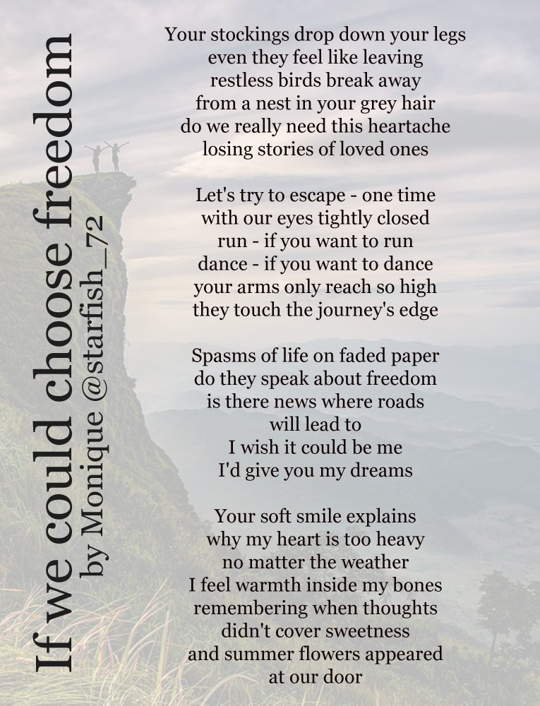 """☆ #ReadMeSpeakMe No. 55 ☆ 28th April 2019 ☆   This week we are reading """"If we could choose freedom"""" by Monique @starfish_72  Please include the #ReadMeSpeakMe hashtag in your tweet and announce the poem title and author in your recording."""
