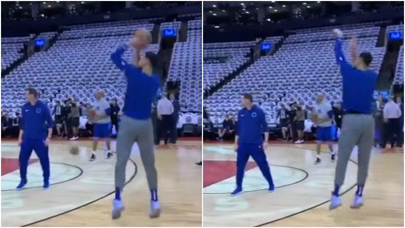【影片】Simmons投三分球啦!戰暴龍前連續外線出手,姿勢標準但結局無奈!