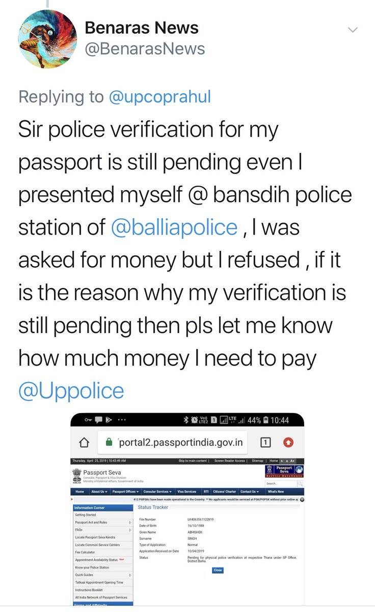 1-12.48 PM-Tweet about non verification of passport  2-12.55 PM-Reply from a police officer with an apology  3-3.27 PM-Passport verified by district, informed by a tweet.  Welcome to the @Twitter Police station of #UPPolice, the #digital ombudsman rendering justice 24/7  #Police