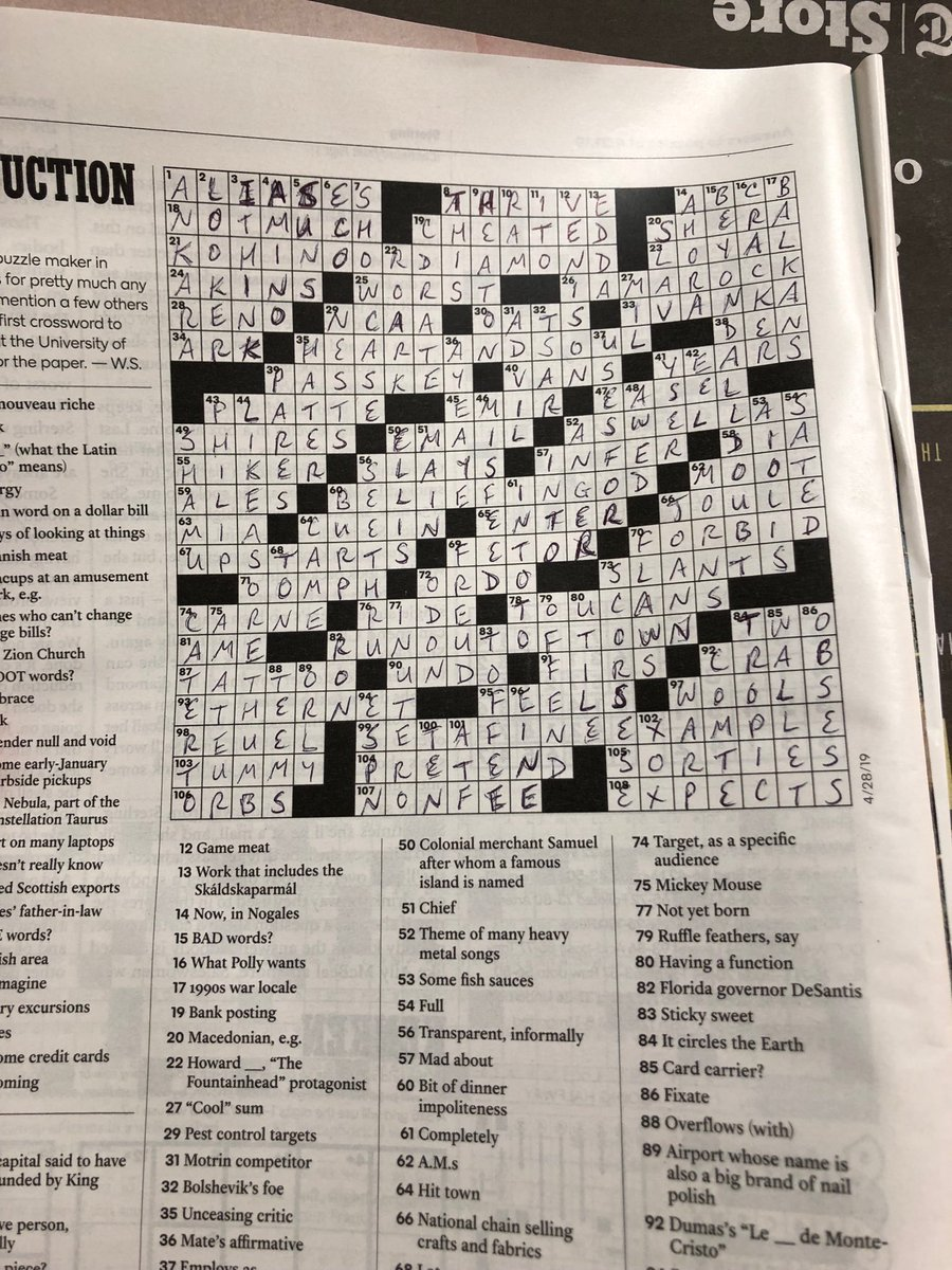Gray Rohrer On Twitter Well Govrondesantis Has Made It Now He S A Nyt Crossword Clue 82 Down