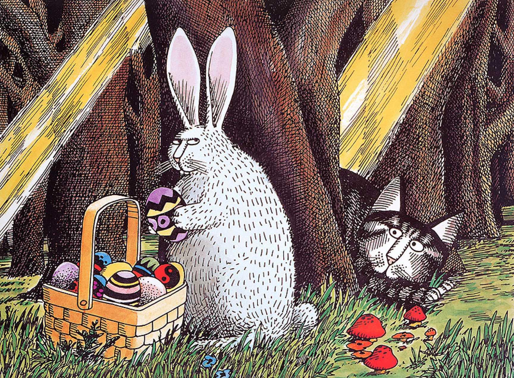 Открытки с котом и зайцем, днем рождения картинка