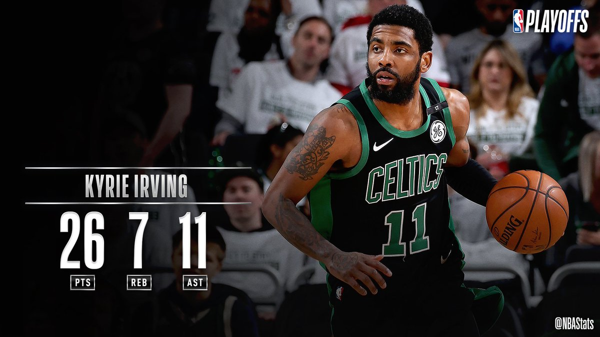 Kyrie Irving goes for 26 PTS, 11 AST, 7 REB, fueling the @celtics Game 1 win on the road! #SAPStatLineOfTheNight