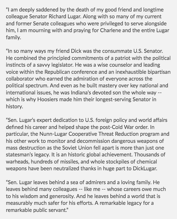 My statement on the passing of former Senator Richard Lugar (R-IN):